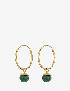 Malachite Hoops Size 18 mm - GOLD PLATED