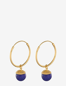 Lapis Lazuli Hoops size 18 mm - GOLD PLATED