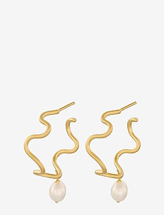 Bay Earrings 8 mm - korvarenkaat - gold plated