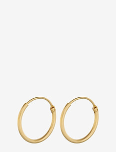 Tiny Plain Hoops 13 mm - korvarenkaat - gold plated