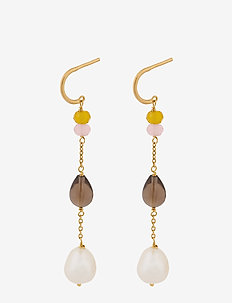 Lagoon Shade Earrings 56 mm - pendant - gold plated