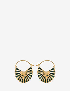 Flare Green  Earrings Size 30 mm - GOLD PLATED