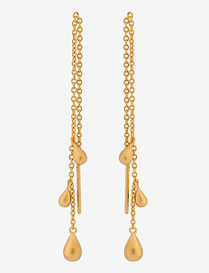 Waterdrop Earchains Lenght 10 cm - pendant - gold plated
