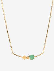 Moss Necklace Green 40-48 cm - GOLD PLATED