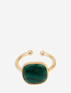 Malachite Ring  Adjustable - GOLD PLATED