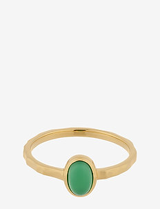 Shine Green Ring - Chalcedony - bagues - gold plated