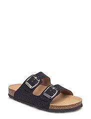Sandal caviar, 2 strap - BLACK