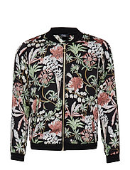 Bomber jacket - AOP FLOWER BLACK