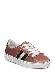 Sneaker w tape velvet - ROSE