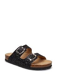 Sandal, glitter 2 straps - BLACK