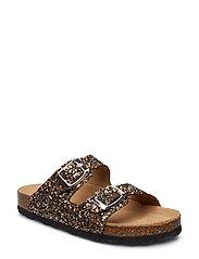 Sandal, glitter 2 straps - BLACK GOLD