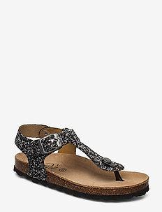 Sandal glitter - sandals - black w silver