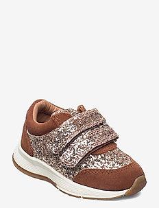 Shoe Velcro glitter - sneakers - tan