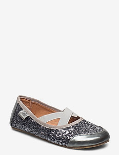 Indoors shoe - glitter - instappers - grey glitter