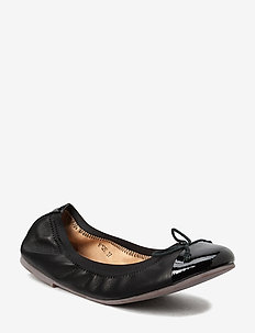 Leather ballerina - BLACK