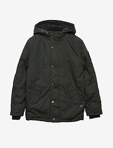 Boys Jacket Parka - puffer & padded - dark army