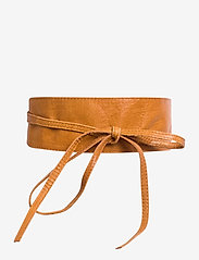 vibs leather tie waist belt - COGNAC