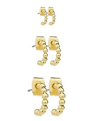 PCBIA HOOP EARRINGS 3-PACK D2D PLATED - GOLD COLOUR