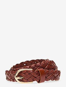 PCAVERY LEATHER BRAIDED SLIM BELT NOOS - riemen - cognac