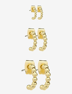 PCBIA HOOP EARRINGS 3-PACK D2D PLATED - korvarenkaat - gold colour