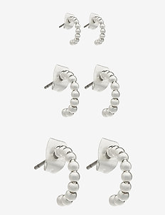 PCBIA HOOP EARRINGS 3-PACK D2D PLATED - hopen - silver colour
