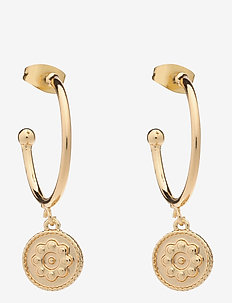 PCFRIDA HOOP EARRING 2-PACK D2D - pendant earrings - gold colour