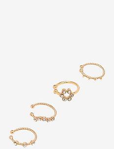 PCNARIANA HUGGIES 4-PACK D2D - ear cuffs - gold colour