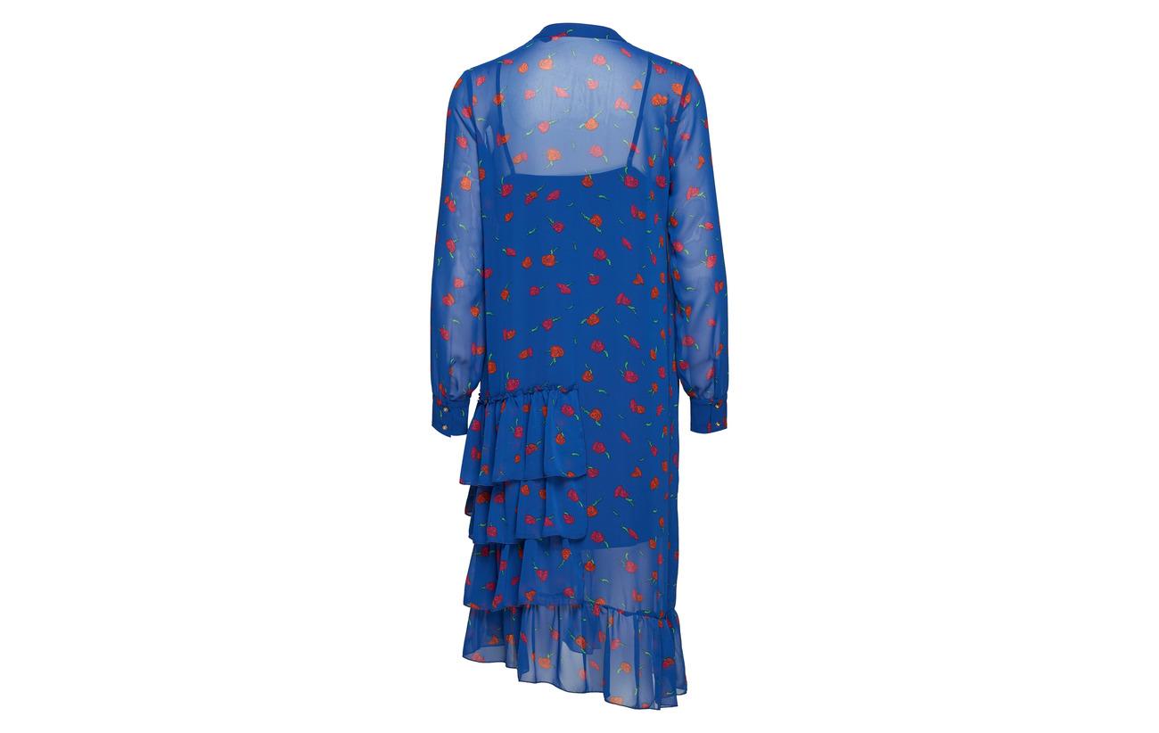 Georgette Navy Ghita Pieszak Dress Frill 100 Ultra Polyester 01qwqxdI