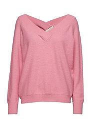 Victoria batwing v-neck knit - SOFT CANDY