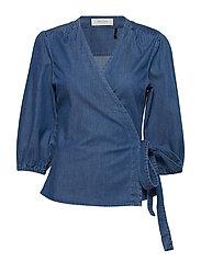 Tilly cross over blouse - DENIM BLUE