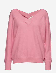 Victoria batwing v-neck knit - SOFT CANDY