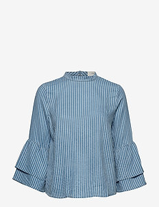 Bali flair sleeve top - LIGHT BLUE STRIPED