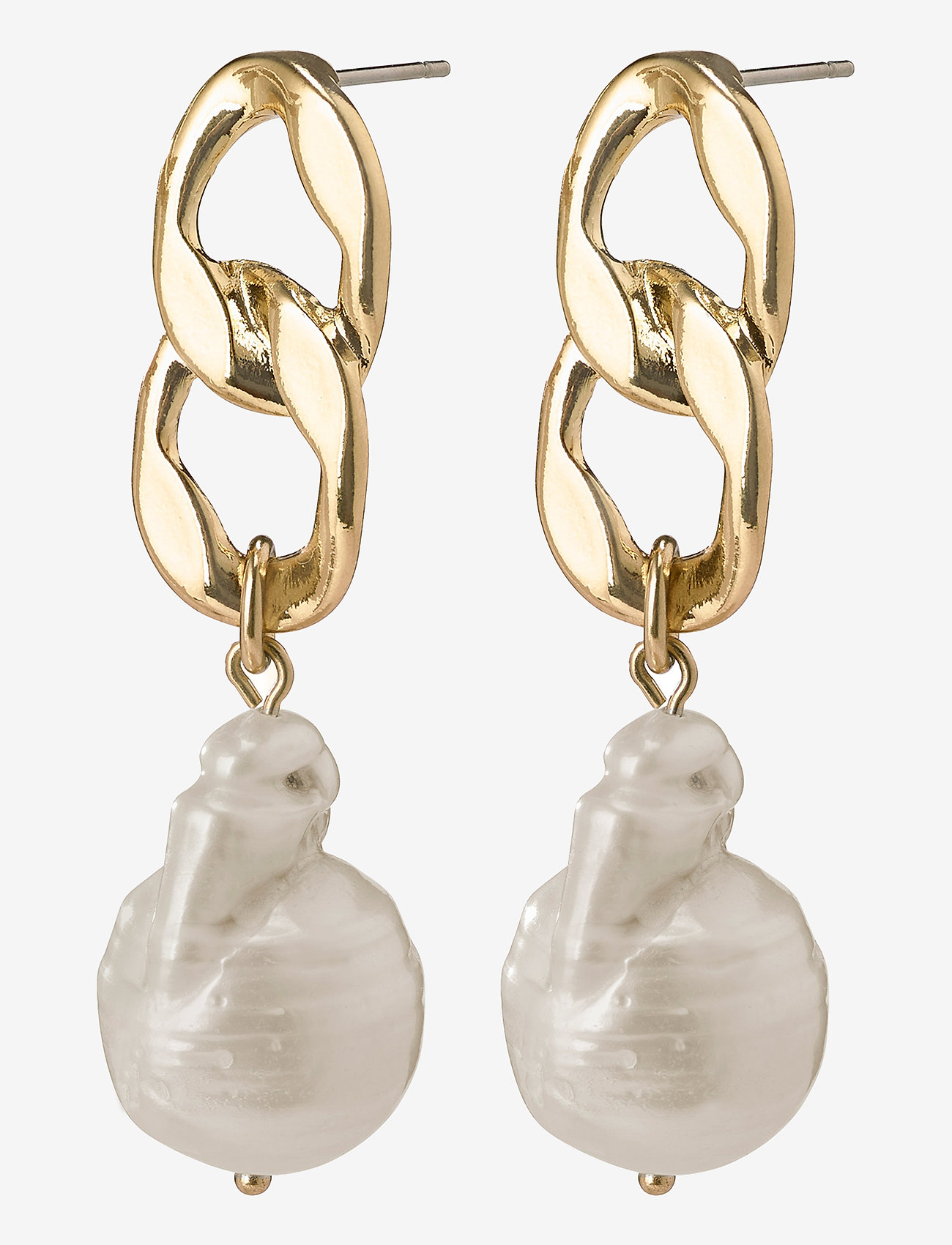Pilgrim - Earrings Gracefulness White - oorhangers - gold plated - 0