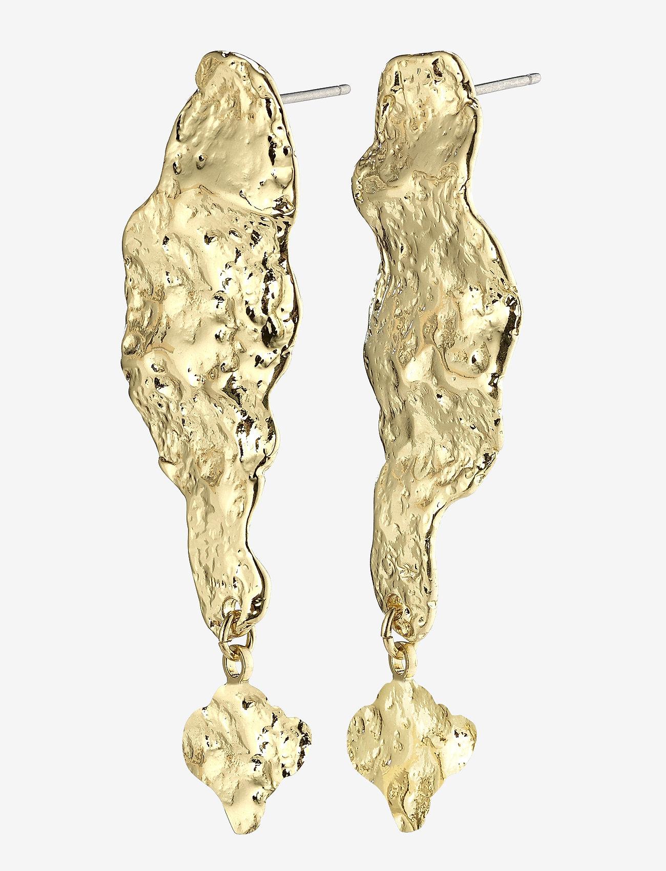 Pilgrim - Earrings Benicia Gold Plated White - statement earrings - gold plated - 0