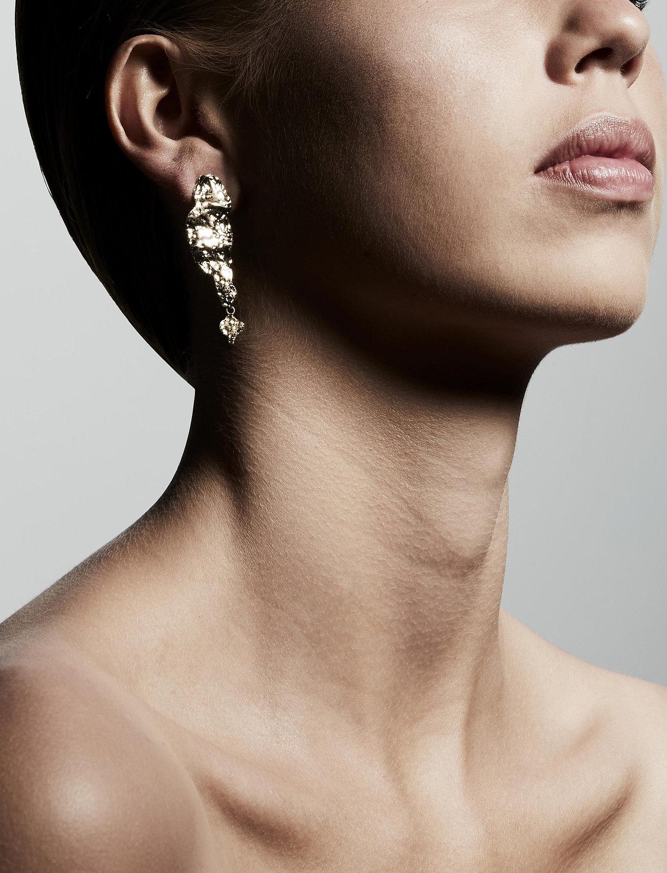 Pilgrim - Earrings Benicia Gold Plated White - statement earrings - gold plated - 1