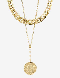 Necklace Compass Gold Plated - statementhalsband - gold plated