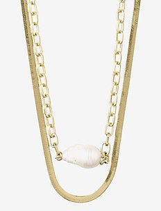 Necklace Gracefulness White - dainty necklaces - gold plated