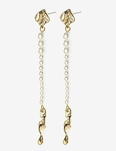 Earrings Simplicity Gold Plated White - oorhangers - gold plated