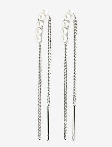 Earrings Cherished Silver Plated White - hängande örhängen - silver plated