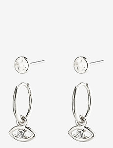 Earrings Poesy Silver Plated Crystal - oorhangers - silver plated