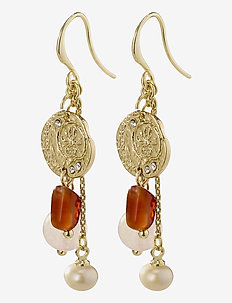 Earrings Warmth Brown - pendant - gold plated