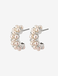 Earrings Warmth White - studs - silver plated