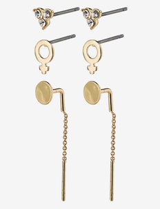 Earrings Malak Crystal - studs - gold plated