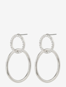 Earrings Garcelle Silver Plated Crystal - hoops - silver plated