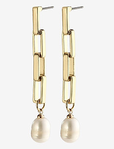 Earrings Colomba Gold Plated White - oorhangers - gold plated