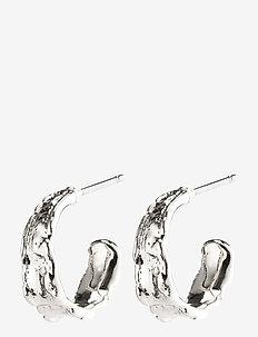 Earrings : Bathilda : Silver Plated - hoops - silver plated