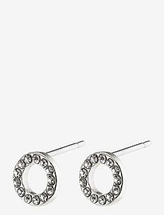 Earrings : Tessa : Silver Plated : Crystal - pendant earrings - silver plated