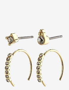 Earrings : Kali : Gold Plated : Crystal - hoops - gold plated
