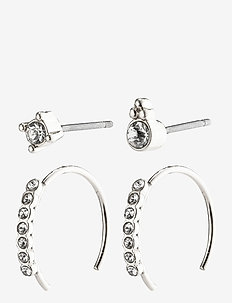 Earrings : Kali : Silver Plated : Crystal - hoops - silver plated