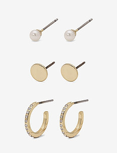 Earring set - studs - gold plated